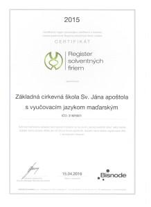 Certifikát školy